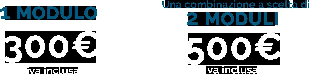 1 modulo 400€ iva inclusa, due moduli 700€ iva inclusa
